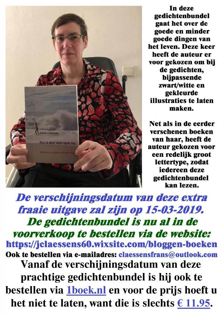 Judith met de nieuwe gedichtenbundel in haar hand op de flyer maat a4 297x210 mm.. 7